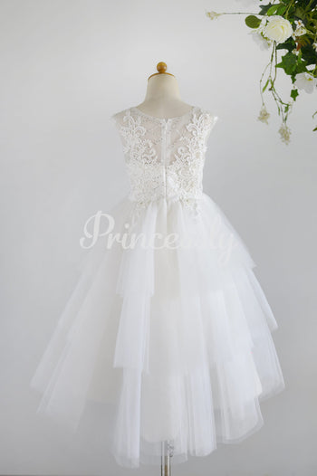 Ivory Lace Sequin Tulle Hi-low Wedding Flower Girl Dress