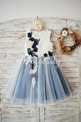 Ivory lace Silver Gray Tulle Wedding Flower Girl Dress with