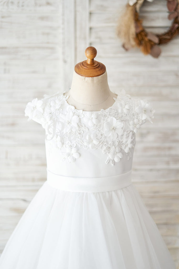 Ivory Lace Tulle Cap Sleeves Flowers Wedding Flower Girl