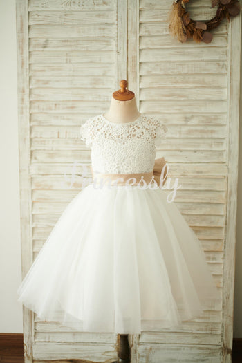 Ivory Lace Tulle Cap Sleeves Wedding Flower Girl Dress with