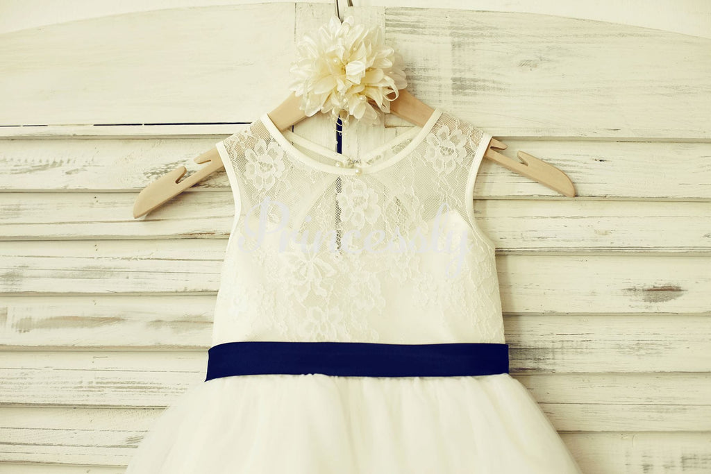 Ivory Lace Tulle Flower Girl Dress with keyhole back / Navy
