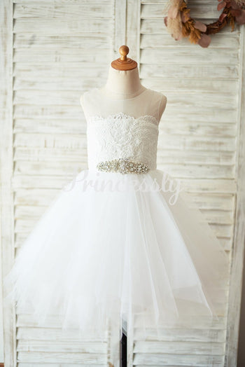 Ivory Lace Tulle Keyhole Backless Wedding Flower Girl Dress