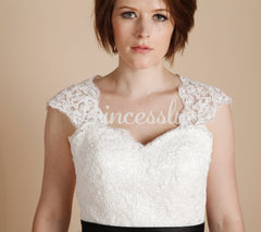 Ivory Lace Tulle Keyhole Back Short Tea Length Wedding Dress