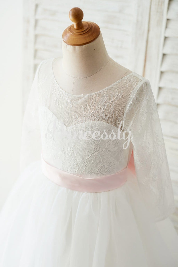 Ivory Lace Tulle Long Sleeves V Back Wedding TUTU Flower