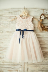 Ivory Lace Tulle Pink Lining Wedding Flower Girl Dress with