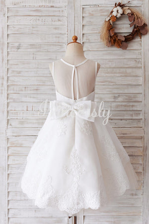 Ivory Lace Tulle Sheer Back Wedding Party Flower Girl Dress