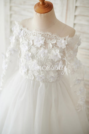 Ivory Lace Tulle Off Shoulder Long Sleeves Wedding Flower