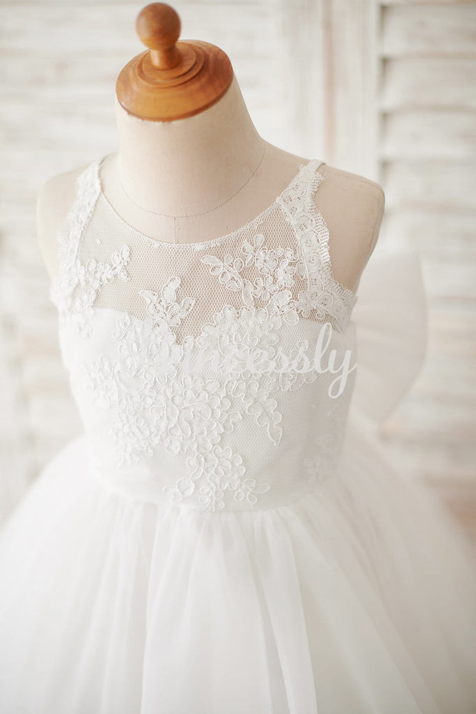 Ivory Lace Tulle Spaghetti straps Halter Neck Wedding Flower