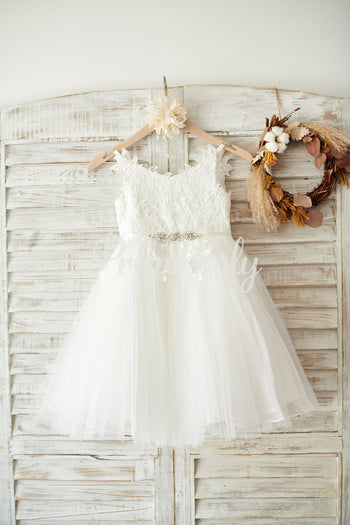 Ivory lace Tulle Spaghetti straps Wedding Flower Girl Dress