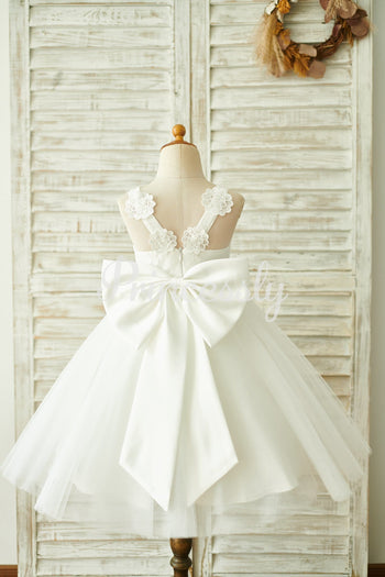 Ivory Lace Tulle Straps Wedding Flower Girl Dress with Big