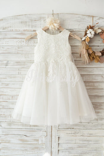 Ivory Lace Tulle Wedding Flower Girl Dress with Big Bow