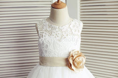 Ivory Lace Tulle Wedding Flower Girl Dress with Champagne