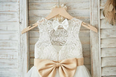 Ivory Lace Tulle Wedding Flower Girl Dress with Keyhole Back