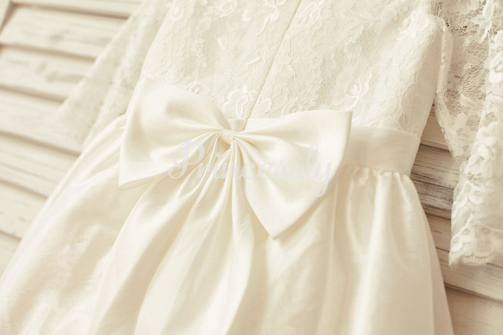 Ivory Long Lace Sleeves Taffeta Flower Girl Dress