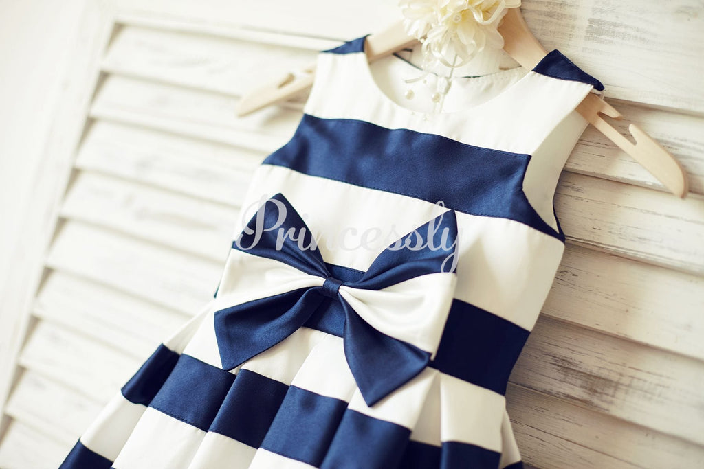 Ivory Navy Blue Stripes Satin Flower Girl Dress with Bow