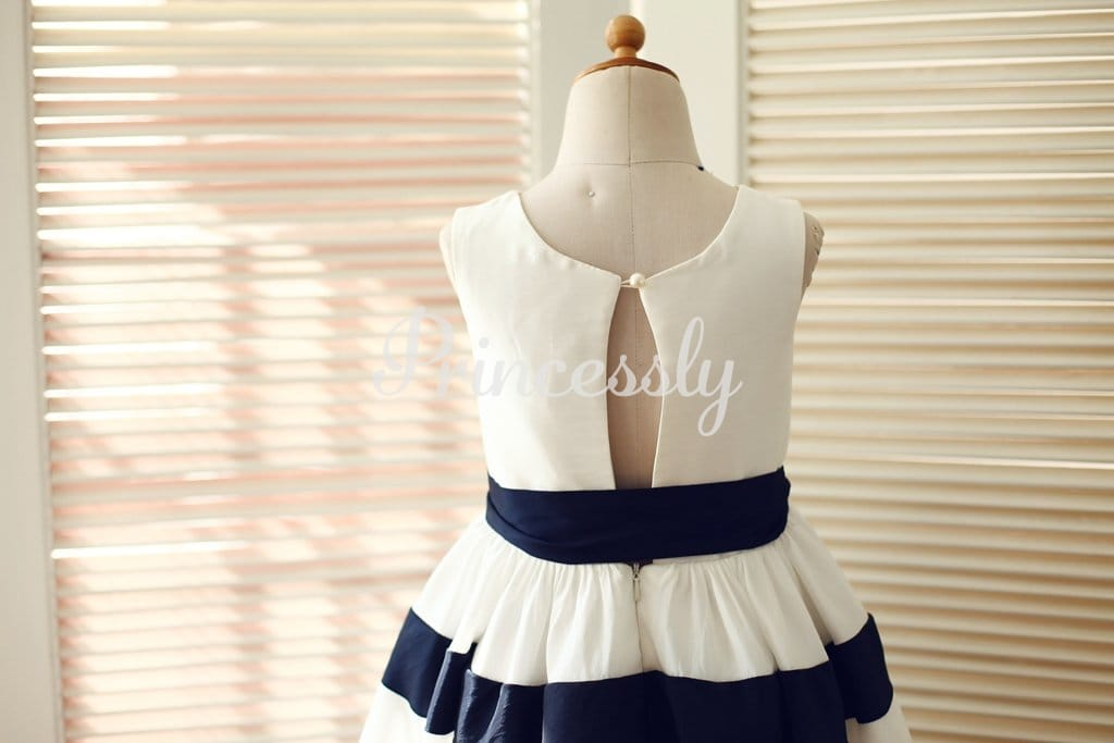 Ivory / Navy Blue Taffeta Striped Wedding Flower Girl Dress