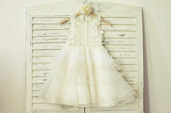 Ivory Organza Lace Applique Flower Girl Dress