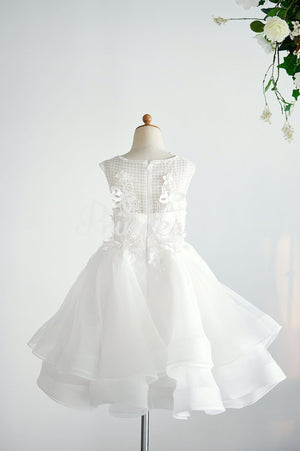 Ivory Organza Lace Wedding Party Flower Girl Dress with 3D