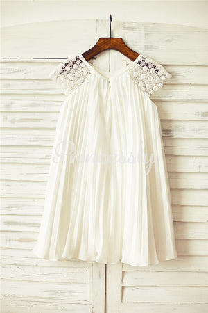 Ivory Pleated Chiffon Lace Flower Girl Dress with Cap