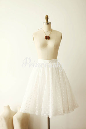 Ivory Polka Dot Tulle TUTU Skirt / Short Women Skirt