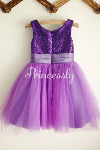 Ivory / Purple / Gold Sequin Tulle Flower Girl Dress with