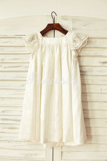 Ivory Satin Cap Sleeves Flower Girl Dress
