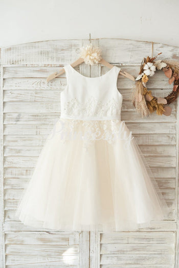 Ivory Satin Champagne Tulle Wedding Flower Girl Dress with