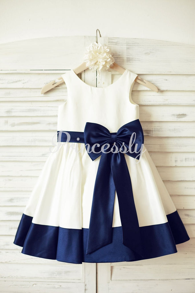 Ivory Satin Flower Girl Dress with Navy Blue Belt / Bow