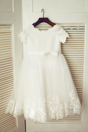 Ivory Satin Lace Tulle Wedding Flower Girl Dress with Short