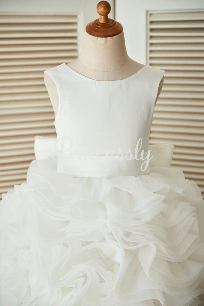 V back Ivory Satin Organza Ball Gown Wedding Flower Girl