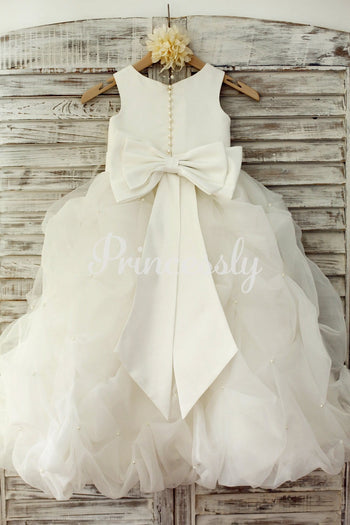 Ivory Satin Organza Ruffle Ball Gown Princess Flower Girl