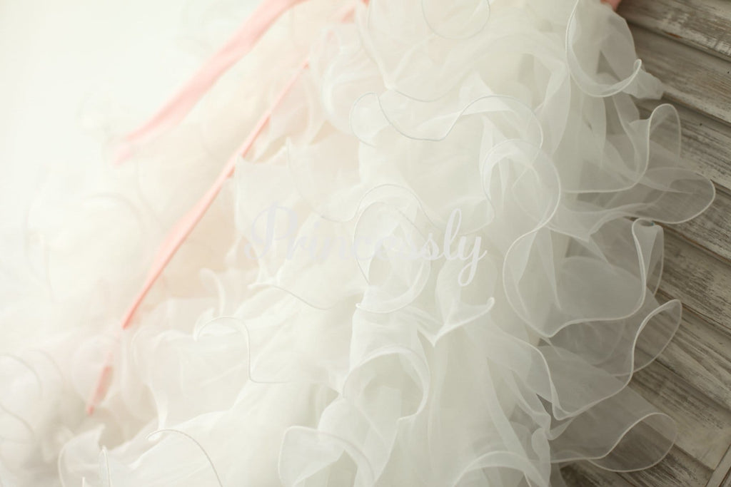 Ivory Satin Ruffle Organza Skirt TUTU Princess Flower Girl