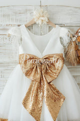 Ivory Satin Tulle Gold Sequin Cap Sleeves Flower Girl Dress