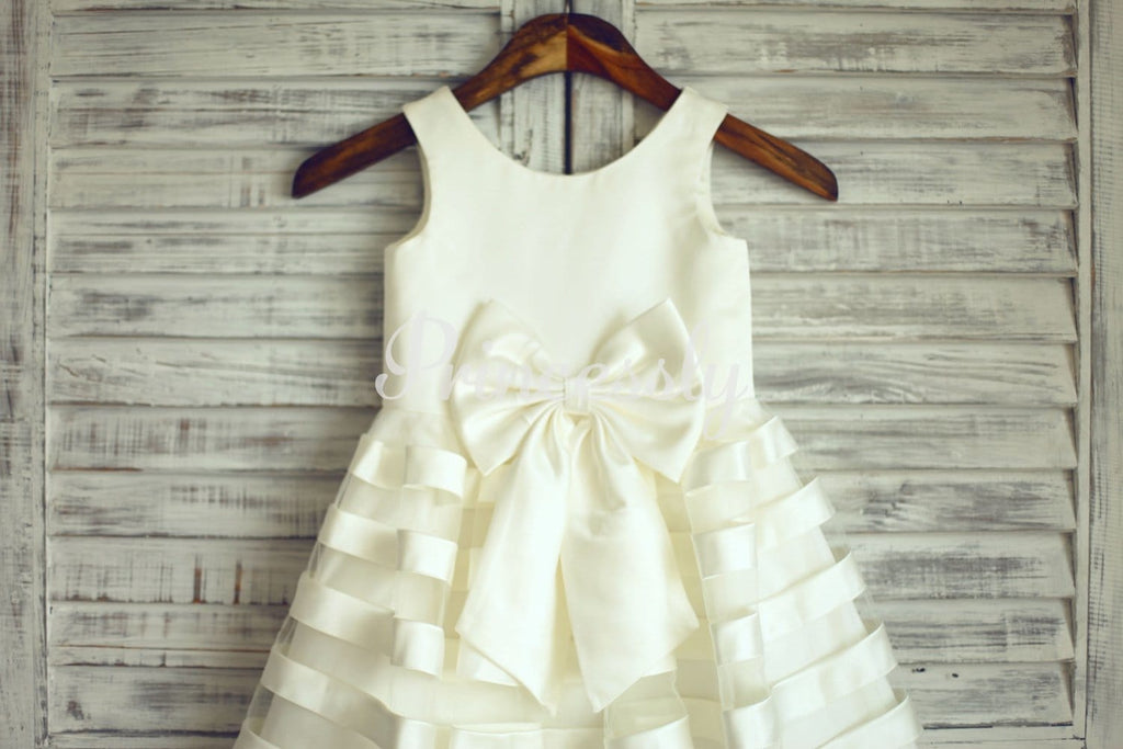 Ivory Satin Tulle Stripes Flower Girl Dress with Big Bow