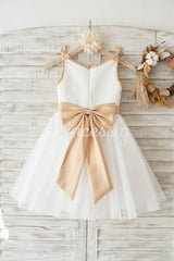 Ivory Satin Tulle Wedding Flower Girl Dress with Champagne