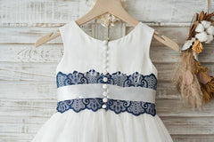 Ivory Satin Tulle Wedding Flower Girl Dress with Navy Blue