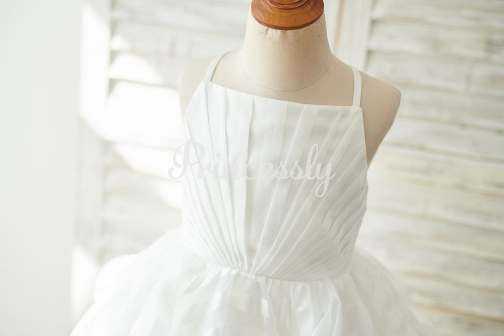 Ivory Stripe Organza Spaghetti Straps Wedding Flower Girl