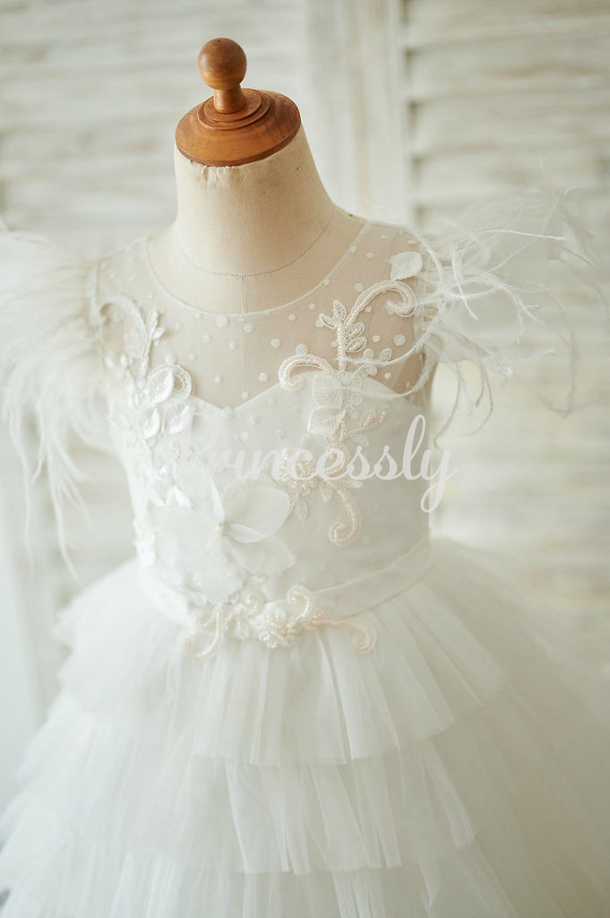 Ivory Tulle Cap Sleeves V Back Cupcake Wedding Flower Girl