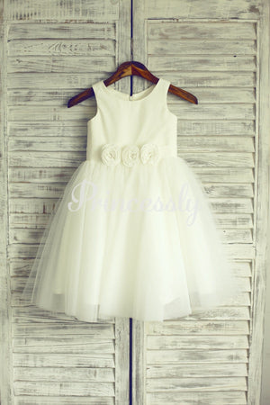 Ivory Tulle Flower Girl Dress Baby Girl Dress with Flower