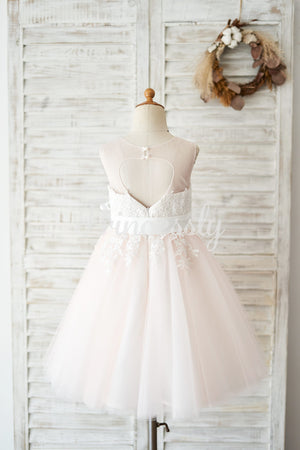 Keyhole Back Ivory Lace Pink Tulle Wedding Flower Girl Dress
