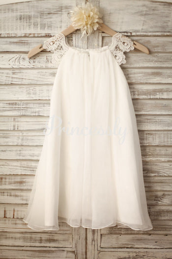 Lace Cap Sleeves Boho Beach Ivory Chiffon Flower Girl Dress