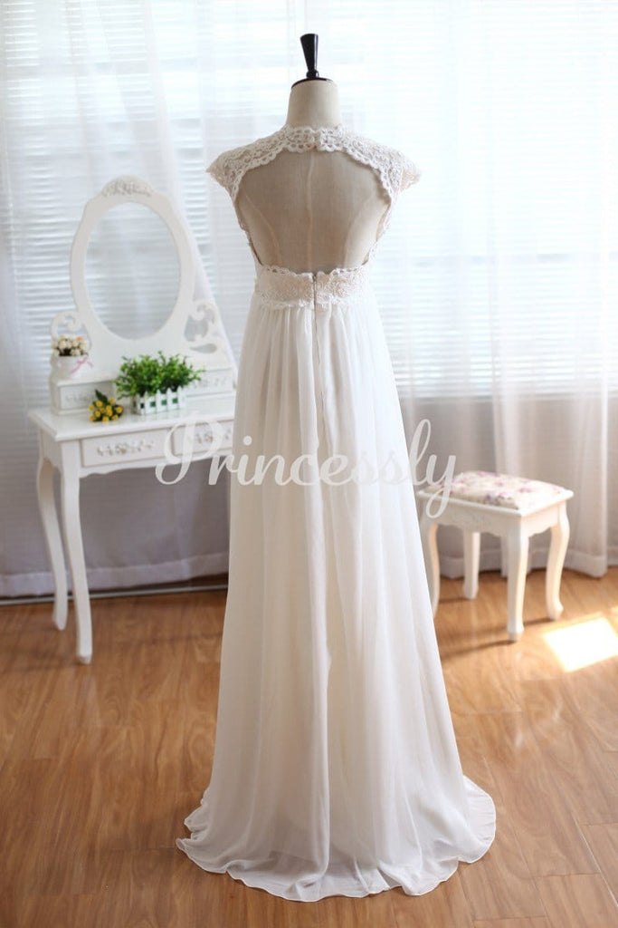 Lace Chiffon Wedding Dress Keyhole Back Empire Waist