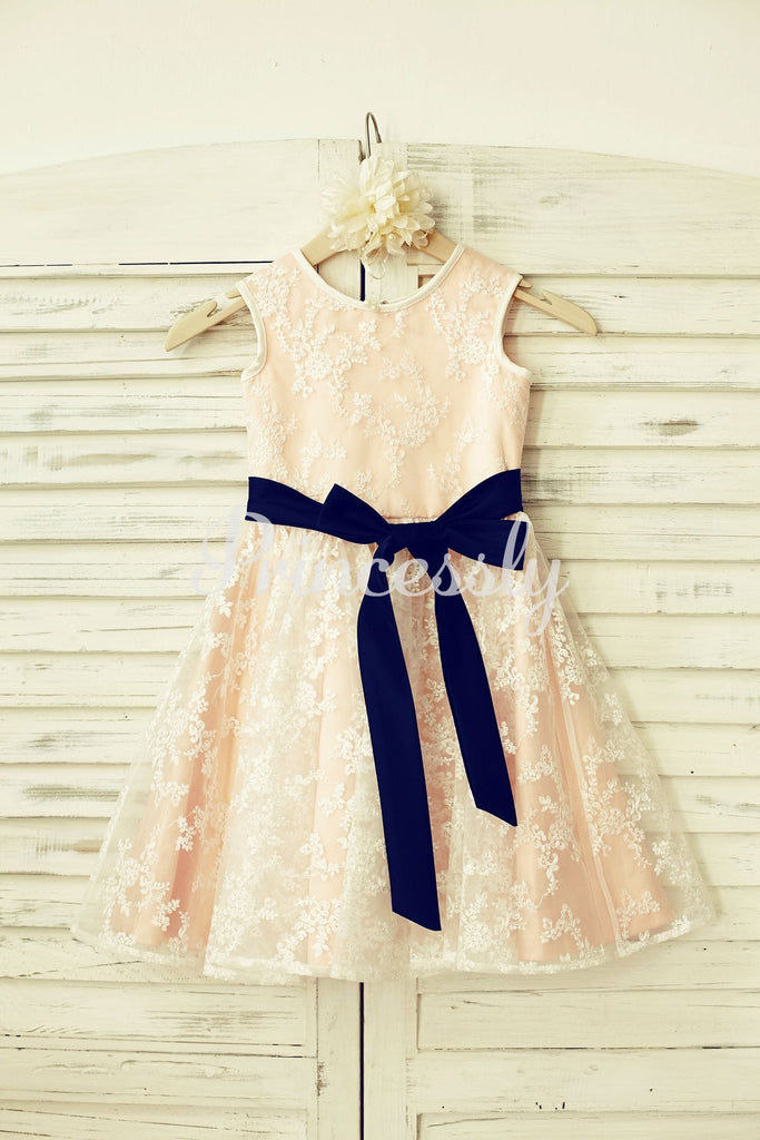 Lace Flower Girl Dress with Navy Blue Sash /Blush Pink