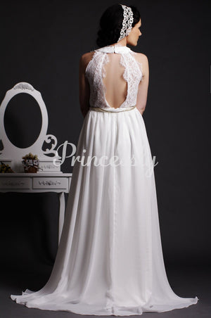 Lace V-neck Key-hole Back Draping Layered Chiffon Wedding