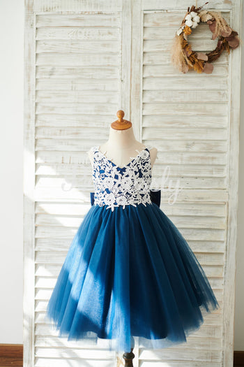 Lace Tulle Spaghetti straps Wedding Flower Girl Dress with