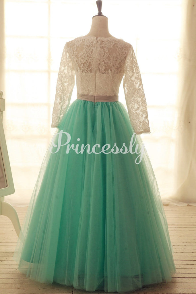 Lace Tulle Wedding Dress Long Lace Sleeves Blue Tulle Ball