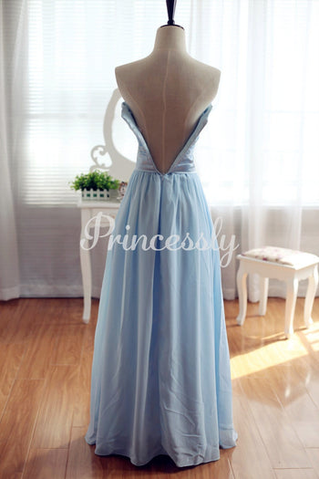 Light Blue Chiffon Bridesmaid Dress Prom Dress Strapless