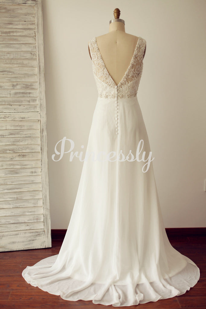A Line V Back Beaded Lace Chiffon Wedding Dress with Sweep