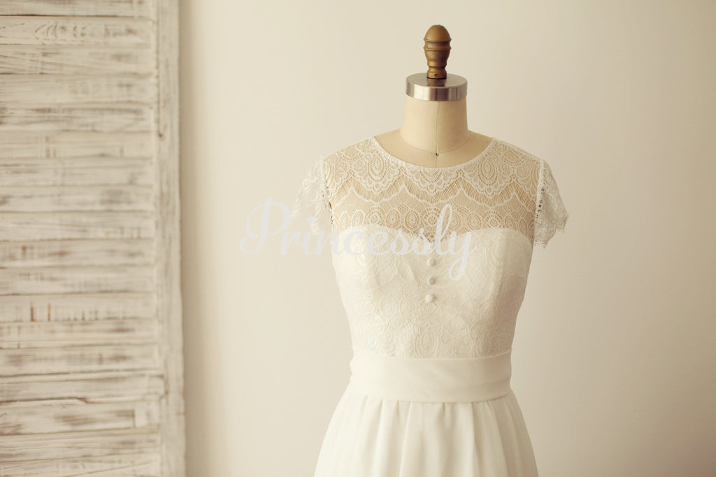 A Line Cap Sleeves Lace Chiffon Wedding Dress