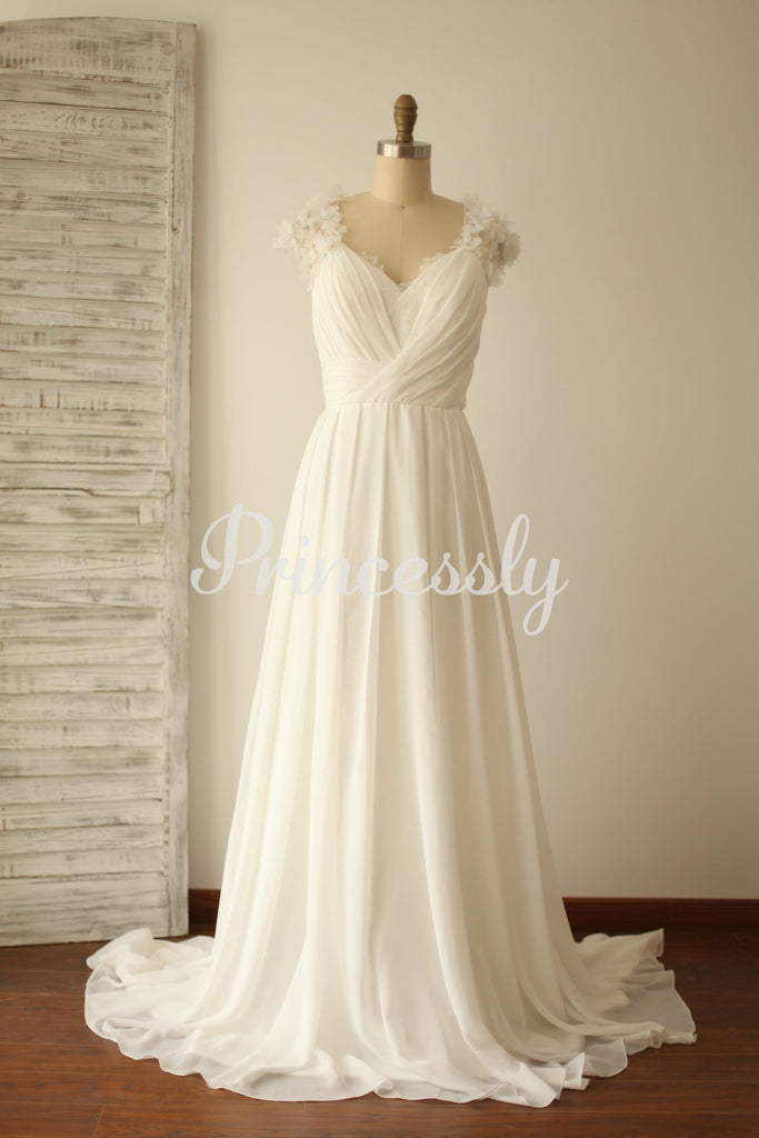 A Line Cap Sleeves Lace Chiffon Wedding Dress with Sweep